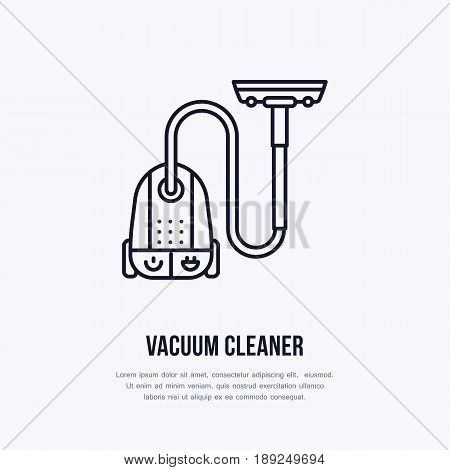 Vacuum cleaner flat line icon, logo. Vector illustration of household appliance for housework equipment shop or cleaning service.
