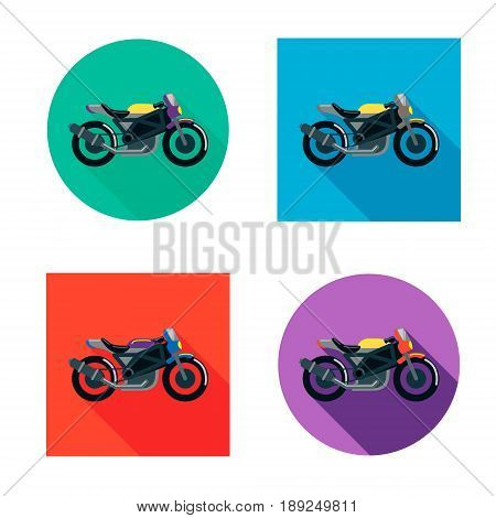 Vector motorcycles set in flat style. Vector illustrations with long shadow. Different flat colors.