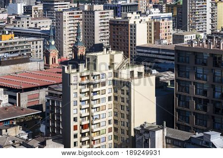 Aerial view of modern and old buildings in the city of Santiago de Chile in Chile South America; Concept for modern city