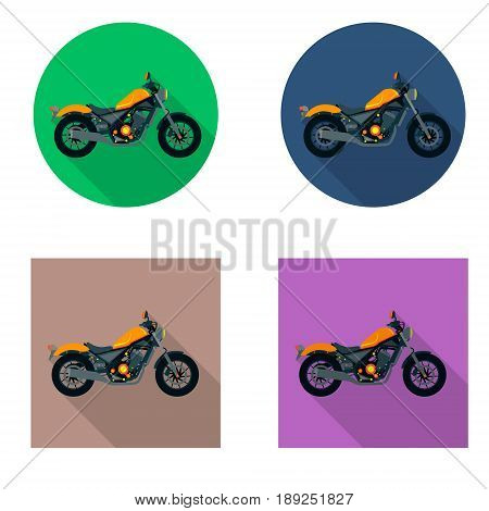 Vector motorcycles icon set in flat style. Vector illustrations with long shadow. Different flat colors.