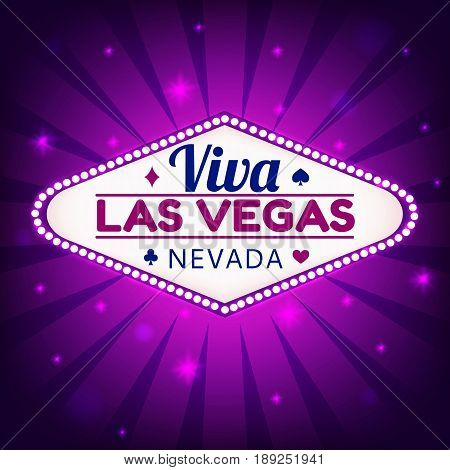 Las Vegas Casino Sign.Casino Neon Billboard Viva Las Vegas Nevada with Diamonds suit, Hearts suit, Spades symbol, Crest symbol in Frame of Light Bulbs on Neon Purple Shining Rays, Neon Stars Background