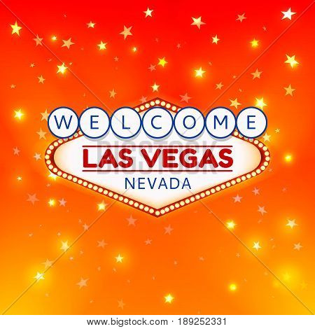 Las Vegas Casino Sign.Casino Color Signboard Welcome Las Vegas Nevada in Frame of Light Bulbs on Gold Gleaming Stars, Gold Shining Stars Background.Design Conception for Gambling Place.