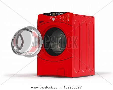 Isolated Washing Machine With Opened Door On A White Background.3D Illustration.