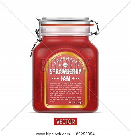 Vector labeled Bale Square Glass Jar with Swing Top Lid filled with strawberry jam. Realistic illustration mockup isolated over the white background.
