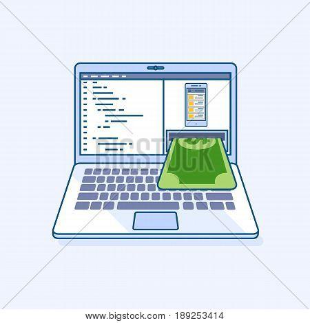 Flat line illustration of freelance mobile application income earnings online work laptop or notebook atm cash machine gives money dollar cash banknote. Digital eCommerce business finance concept