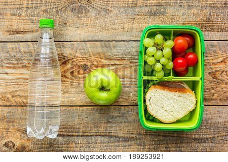 Take Away With Lunchbox And Fresh Food On Wooden Background Top View