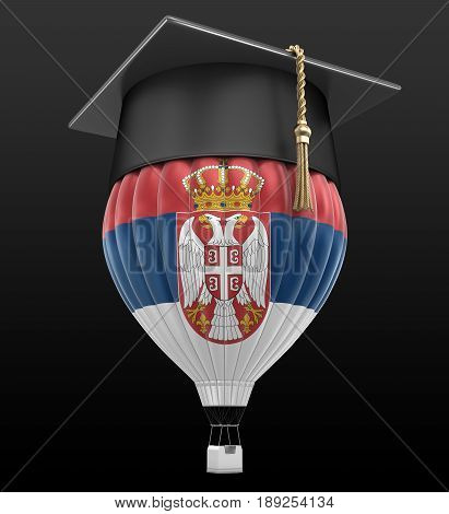 3D Illustration. Hot Air Balloon with Serbian flag and Graduation cap. Image with clipping path