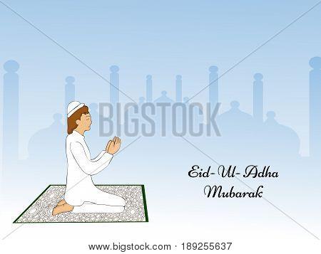 illustration of man with Eid Ul Adha Mubarak text