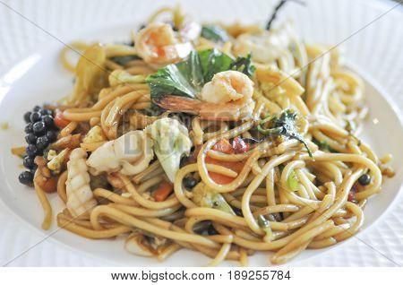spicy seafood spaghetti or Thai spaghetti ,spaghetti