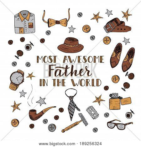 Quote Most awesome father in the world with men s vintage symbols. Excellent holiday card for father s day.
