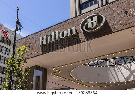 Indianapolis - Circa June 2017: Downtown Hilton Hotel Location. Hilton is a global brand of full-service hotels V