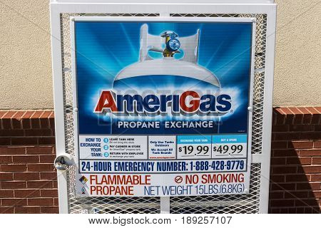 Indianapolis - Circa June 2017: AmeriGas Exchange Station. AmeriGas is a propane company serving residential commercial industrial and agricultural customers III