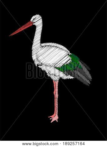 Embroidery stork bird isolated on black background.