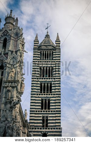 Church tower in the medieval town of  Siena