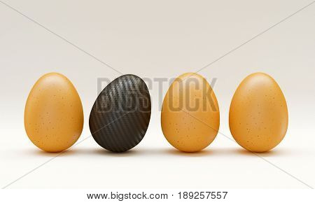 classic eggs and carbon fiber one 3d rendering image