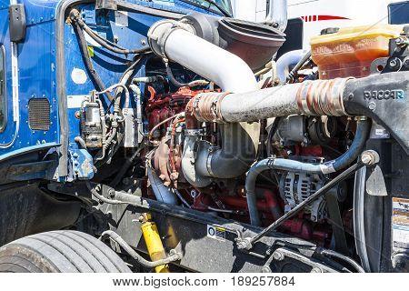 Indianapolis - Circa June 2017: Peterbuilt Big Rig Semi Tractor Trailer engine turbocharger II