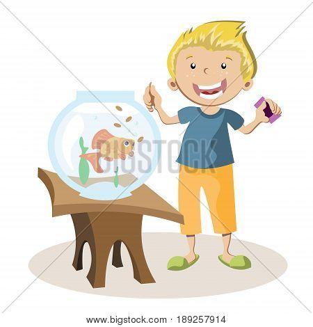 Boy feeding little fish in their fish tank. Vector illustration