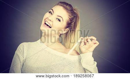 Happy Woman Holding Her Bra Strap