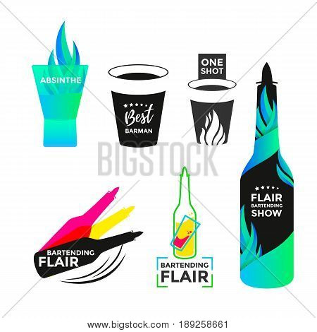Flair bartending icon or logo design. Best barmen emblem. Bartender bottle