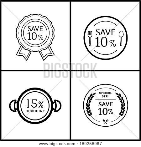 ten percent and fifteen discount logo design for restuarant with dish symbol
