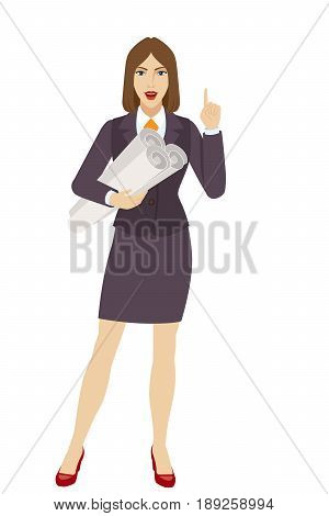 Businesswoman holding the project plans and pointing up. Full length portrait of businesswoman character in a flat style. Vector illustration.