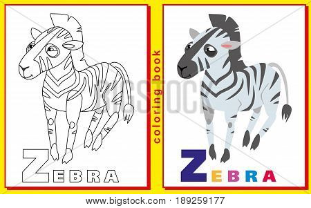 children coloring book with letters and words. letter Z. Zebra. vector image