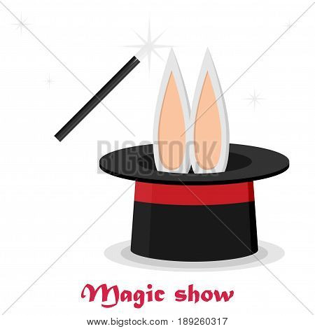 Magic trick. Flat style design - vector