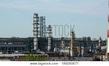 MOSCOW RUSSIA - March 2015: MNPZ Kapotnya Maryno and Brateevo outskirts of UVAO Moscow Russia. view of refinery MNPZ. environmental pollution.