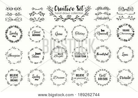 Floral wreath set. Hand drawn flourish frames. Dividers and borders. Herbal elements and flowers. Vector illustration