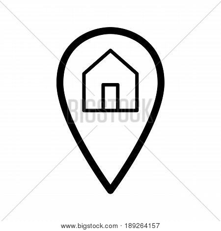 Map pointer and house simple vector icon. Black and white illustration of geolocation. Outline linear icon. eps 10
