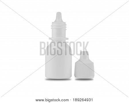 white Bottle for eye drop isolated on white background. clipping path.