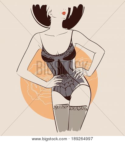 Beautiful woman wearing sexy lingerie. Vector illustration eps 10