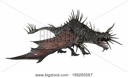 3D Rendering Spiky Dragon On White