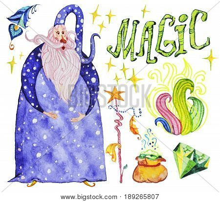 Watercolor artistic collection of magic hand drawn elements design isolated on white background. Wizard lettering smoke fire magic wand crystal and powder set. Fairy tale children illustration.