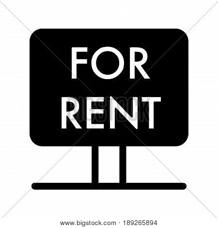 Rent symbol simple vector icon. Black and white illustration of rent Nameplate. Solid linear real estate icon. eps 10