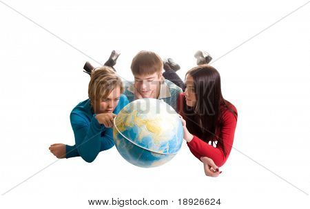 young people looking at globe (isolated on white)
