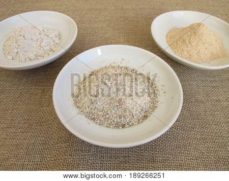 Rye flour, rye croats and dried rye sourdough