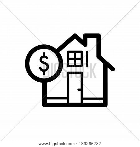 House and dollar simple vector icon. Black and white illustration of real estate. Outline linear icon. eps 10