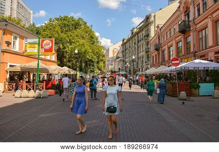 Russia, Moscow, Mary 23, 2017. Moscow streets, Old Arbat street