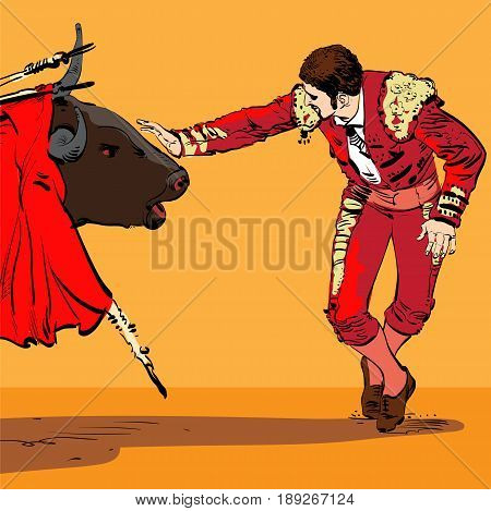 Illustration of a bull and a matador in Spain. The Matador facing the bull