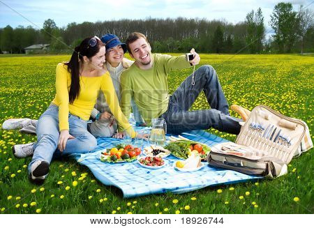 three friends taking a photo of themselves at picnic