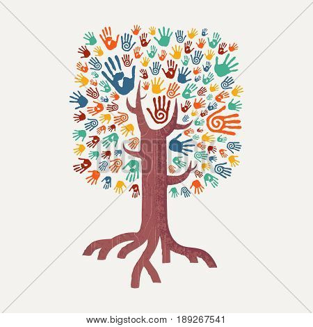 Hand Drawn Handprint Tree For Community Help