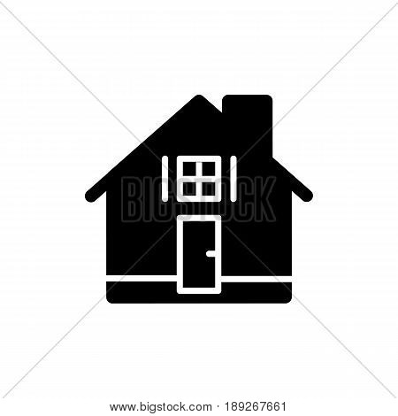 House simple vector icon. Black and white illustration of real estate. Solid linear apartments icon. eps 10