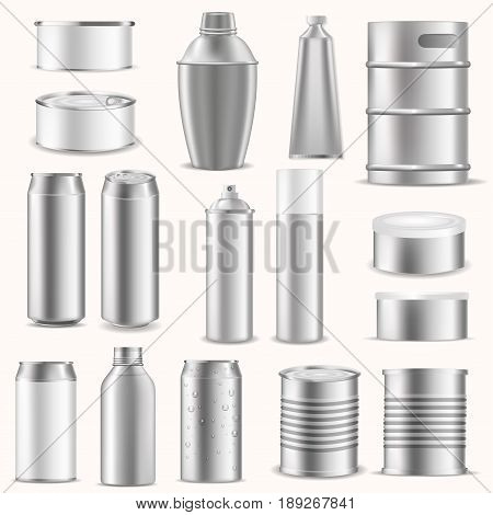 Set empty pack boxes realistic template 3d advertising presentation blocking silver aluminium packing vector illustration. Can tin pack packaging mock up canning.