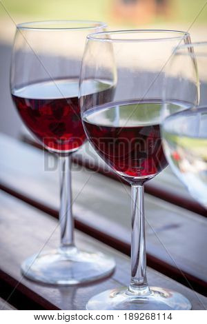 Glasses of Red and White Wine Close Up