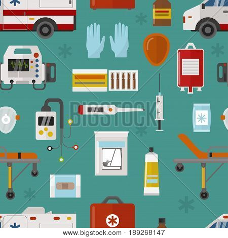 Medical icons set care heart ambulance hospital emergency and syringe pharmacy clinic web human laboratory symbols vector illustration. Medication ambulance seamless pattern