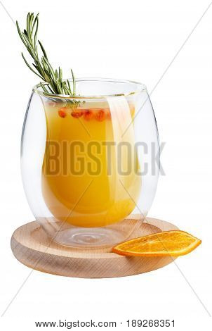 Refreshing Summer Drink On A White Background. Sea-buckthorn Juice In An Unusual Glass On A Wooden S