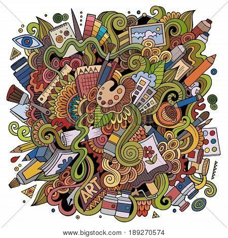 Cartoon cute doodles hand drawn Artistic illustration. Colorful detailed, with lots of objects background. Funny vector artwork