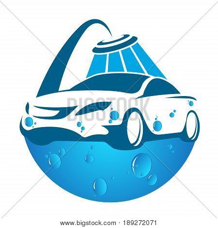 Car wash symbol for business vector emblem
