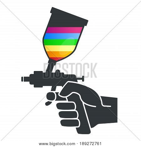 Sprayer to paint in hand silhouette vector